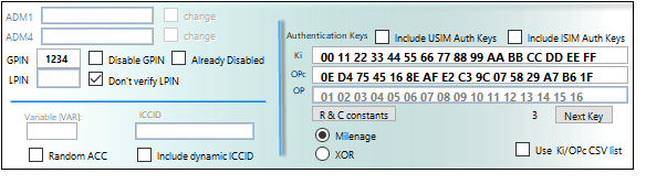 SIM Editor PIN and Auth Keys